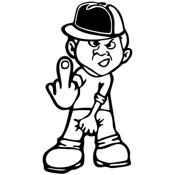 Middle Finger Boy Man Funny Car Bumper Car Window Vinyl Sticker Decal Decoration Personality Accessories