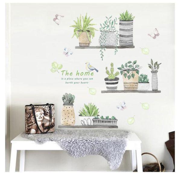 Garden Plant Bonsai Flower Butterfly Wall Stickers Home Decor Living Room  Kitchen Pvc Wall Decals Diy