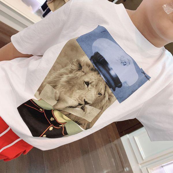 best selling 2020 New Kids Brand Fashion Tshirt Lion Print White Tee for Children Cotton Tshirt