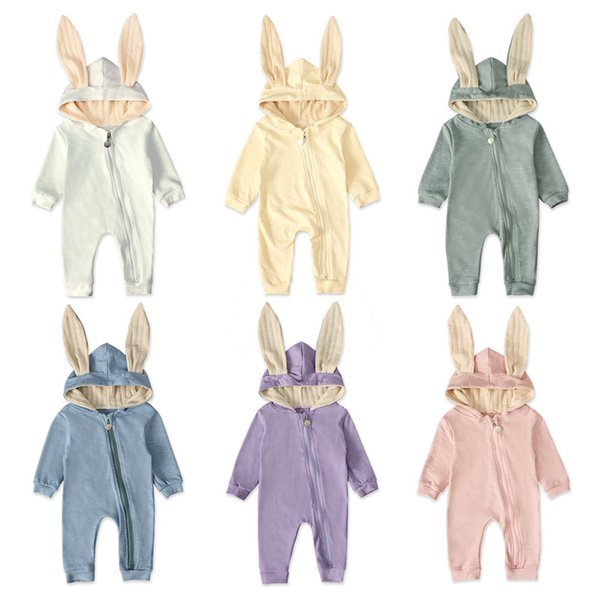 Children in Europe and America in spring and autumn models girls long-sleeved leotard climbing clothes rabbit ears hooded Romper Kids ins
