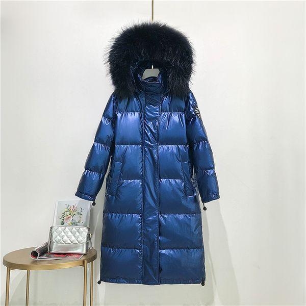 синее пальто черный мех