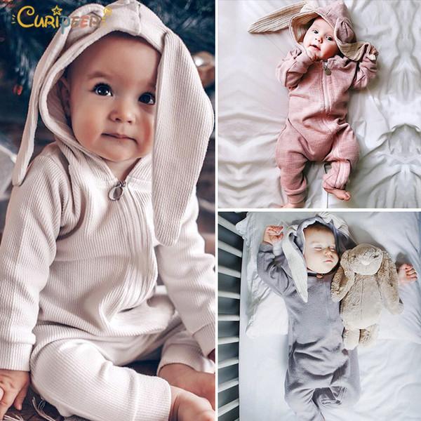 2019 Yenidoğan Bebek Kigurumi Bebek Kız Erkek Giysileri Sevimli 3d Bunny Kulak Paskalya Romper Tulum Pijama Sonbahar Bahar Bebe Tulum J190524