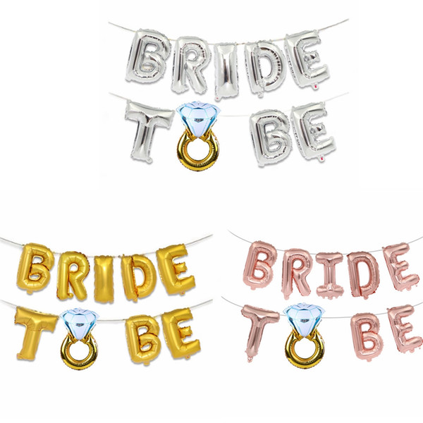 Wedding Decoration Letter Balloons Creative 16inch Gold Silver Bride To Be Letter Foil Balloons Diamond Ring Party Decor TTA1141