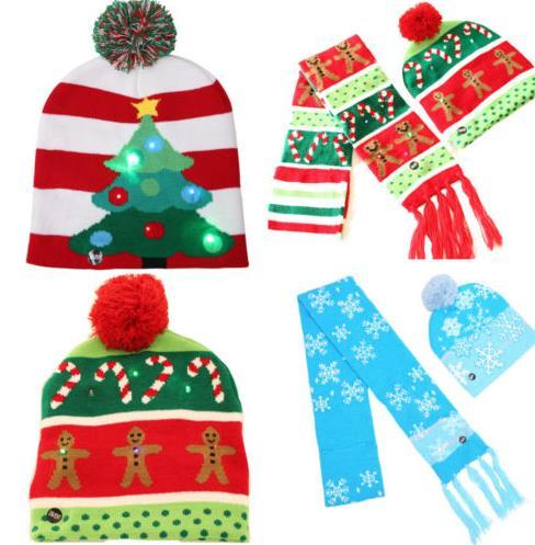 Light up flashing knitted hat scarf LED Christmas bobble hat santa gift stocking filler Winter Warm Beanie hats for kid adult