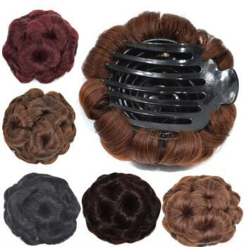 Human Hair Nine Flowers Bun Maker False Contract Mix Colore Bride Combs Chignons Hair Extensions Hair Products HA124