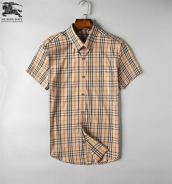 Herren Business Casual Hemd Herren Kurzarm Streifen schlank passen gesunde soziale Männer neue Mode kariertes Hemd # G021
