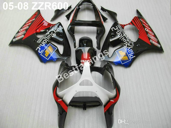 Motorcycle plastic fairings for Kawasaki ZZR600 05 06 07 08 red black injection molded fairing kit ZZR 600 2005-2008 ZV47