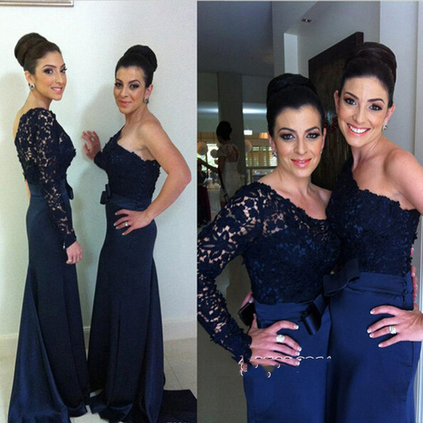 One Shoulder Navy Blue Lace Mermaid Bridesmaid Dresses with Bow 2019 Long Sleeve Peplum Maid Of Honor Dresses Wedding Guest Dress