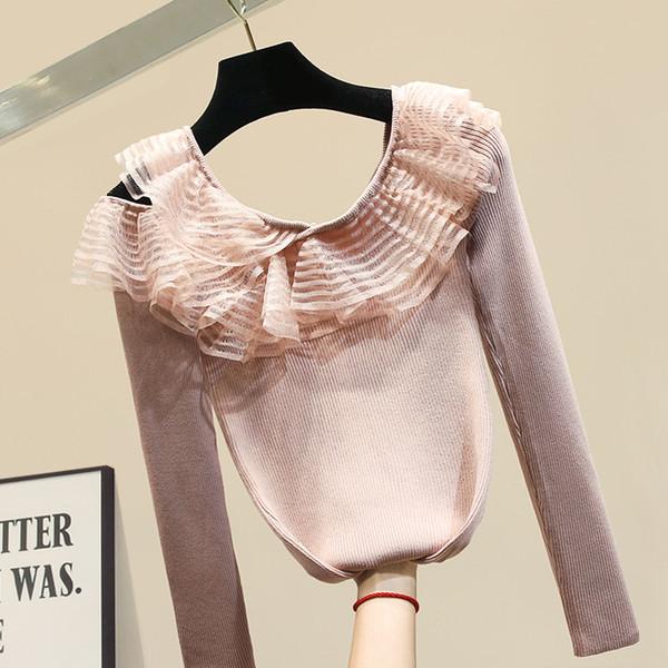 Delgada industria pesada hoja de loto borde del collar suéteres de otoño suéter de manga larga para mujer delgada capa interna de tejer suéter hembra de la tapa