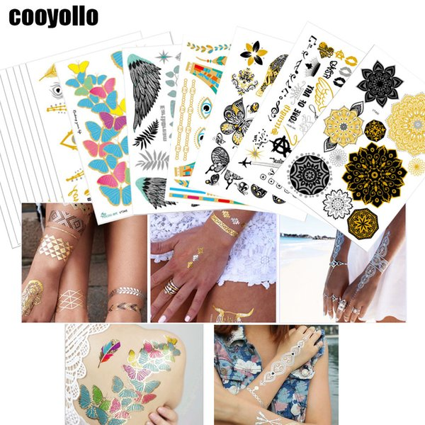 20*15cm Gold Designs Body Art Temporary Tattoo Stickers Men Women Chain Bracelet Fake Jewelry Metallic Waterproof Sticker Supply