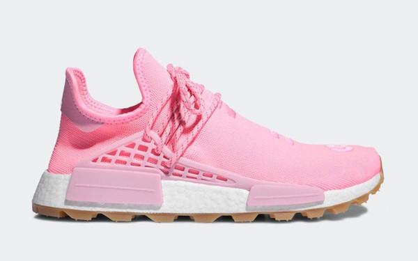 Yeni Otantik Pharrell Williams x NMD HU PRD Sakız Paketi Hiper Pop Erkek Kadın Koşu Ayakkabıları Işık Pembe-Sakız İnsan Yarış Spor Sneakers EG7740