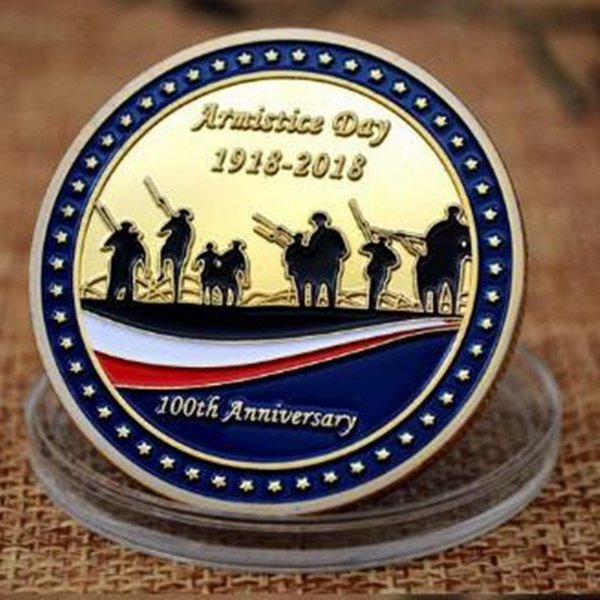 10 pcs SLMTTG 24K real gold plated first world war 100th anniversary soldier memory 40 mm badge collectible decoration coin