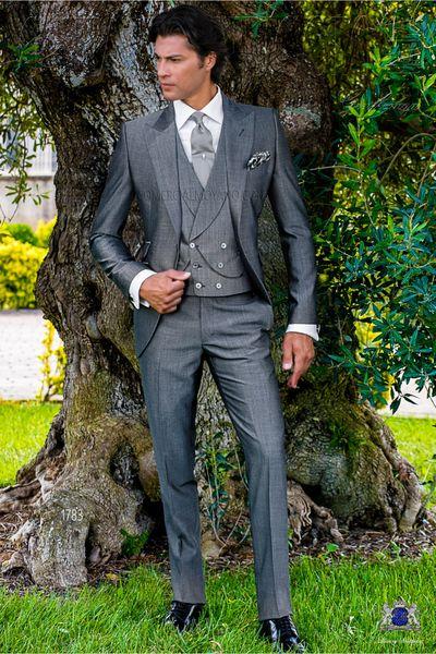 Classic Groomsmen Peak Lapel Groom Tuxedos Grey Men Suits Wedding/Prom/Dinner Best Man Blazer ( Jacket+Pants+Tie+Vest ) A1119
