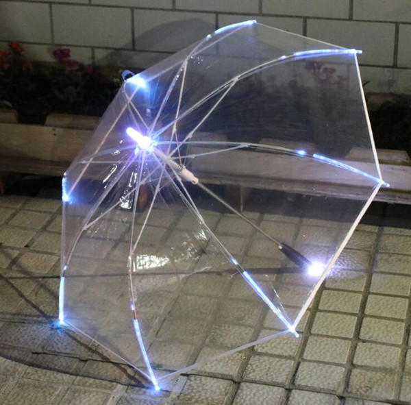 LED Light Transparent Long Umbrella Laser Sword Light up Golf Umbrellas Rainbow Changing Color LED Transparent Umbrella Parasol
