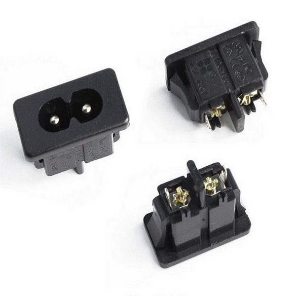 10Pcs AC250V 2.5A IEC320 C8 Male 2 Pins Power Inlet Socket Panel Embedded