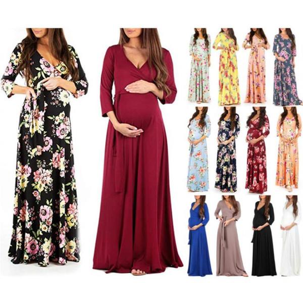 2019 Embarazo de las mujeres V Collar de manga larga Vestido de maternidad Estampado floral Vestido de sastre embarazada moda gestante maternidad ropa