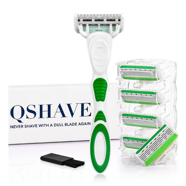 Qshave Yeşil Serisi 5 Katmanlı Abd Bıçak Kadın Lady Kız Bikini Bacak Epilasyon Jilet 6 Parça Ile X5 Bıçak sevgililer Günü Hediyesi SH190719