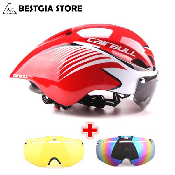3 Lens Aero 290g Tt Goggles Bike Helmet Road Bicycle Sports Safety Helmet Riding Mens Racing In-mold Time-trial Cycling Helmets