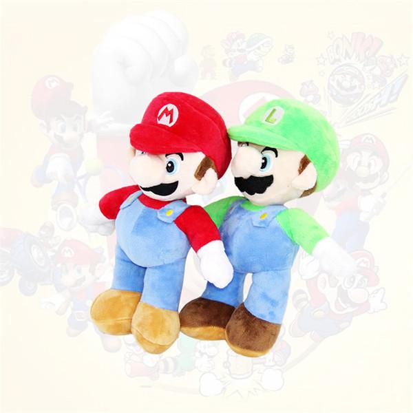 Super Mario Bros Stand Luigi Mario Plush Toys Soft Stuffed Anime Dolls for Kids Gifts 10inch 25cm Super Mario Plush Toys 40pcsT1I1616