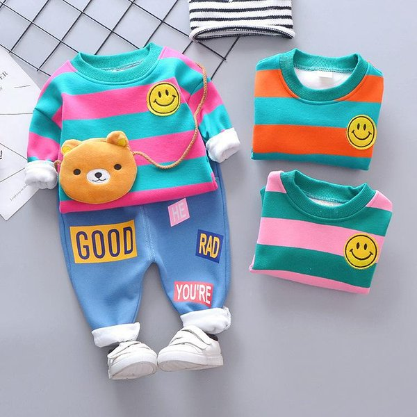Baby Boys And Girls Suit Brand Tracksuits Kids Clothing Set Hot Sell Fashion Spring Autumn Long Sleeve Garment Thickening and velvet