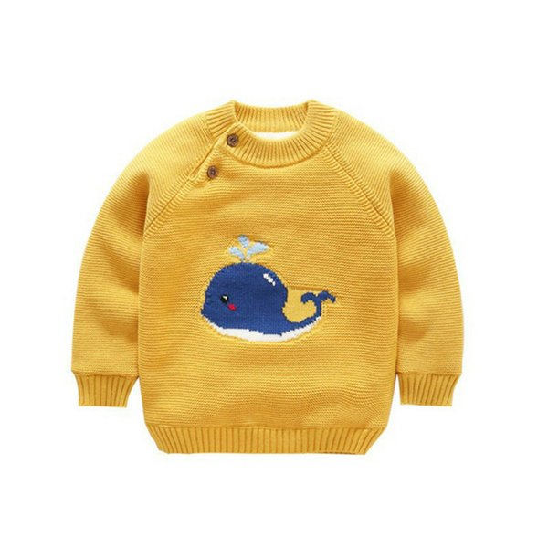 2019 Winter New Baby Knit Sweater Infant Newborn Children Knitted Toddler Cartoon Pullovers Warm Long Sleeved Soild Tops