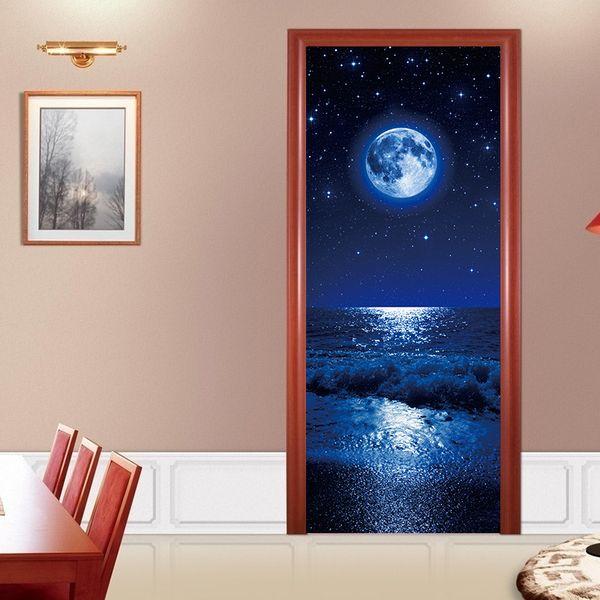 "Wholesale 3D Door Wall Sticker Big Blue Moon Sea Self Adhesive Peel & Stick Repositionable Fabric Murals Waterproof Wallpapers 30.3x78.7"""