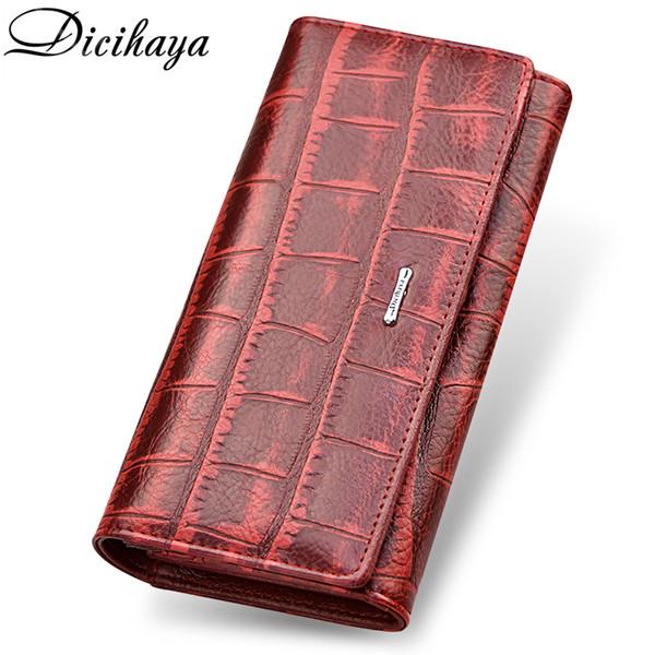 Dicihaya Brand Genuine Leather Long Women Wallet Alligatos Hasp Clasp Purse Clutch Money Phone Bag Card Holder Female Wallets Y19062003