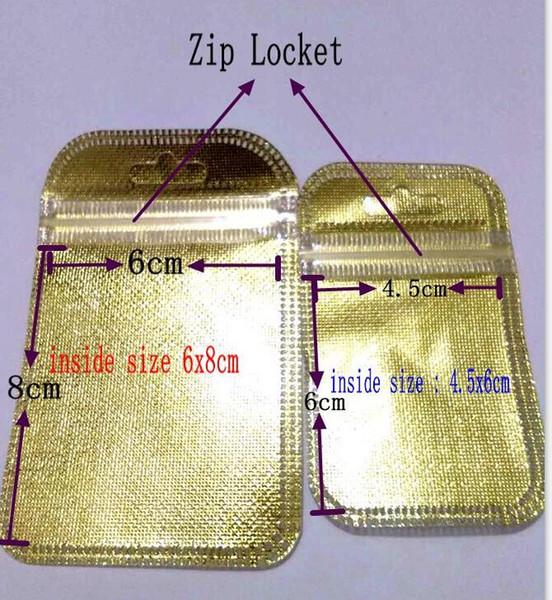 6x8 cm altın Zip kilit takı aksesuarları alışveriş ambalaj çanta OPP PP PVC Poli plastik ambalaj çanta