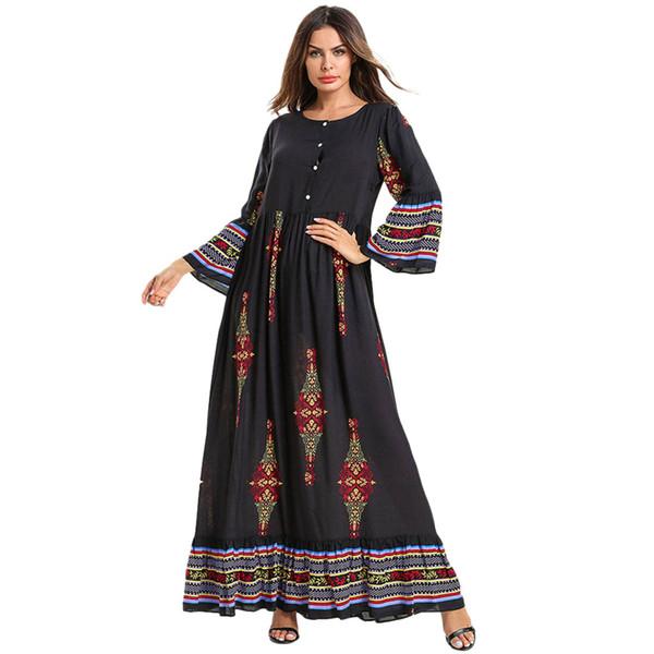 Women Muslim Printing Loose Long Sleeve Arab Dress Islam Jilbab Dress Kaftan Elegant Design Maxi Dresses Clothes z0426