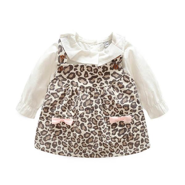 Ropa de bebé de manga larga de algodón Ropa infantil Ropa blanca + falda de liga con estampado de leopardo 2pcs / set traje de bebé niña pequeña ropa A2646