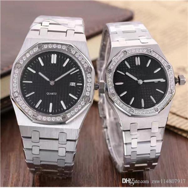 New Men Lady İzle Paslanmaz Çelik Japon Kuvars Safir Gümüş Siyah Beyaz elmas Saatler