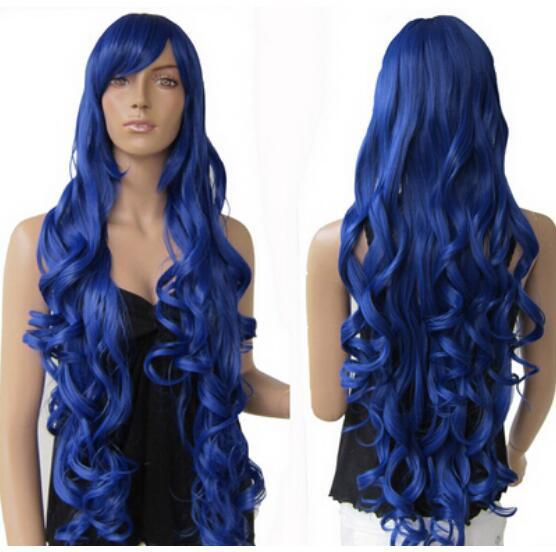 "FREE SHIPPING + +33"" Heat resistant Long Bang Dark Blue Spiral Wavy Cosplay Party Hair Wig"