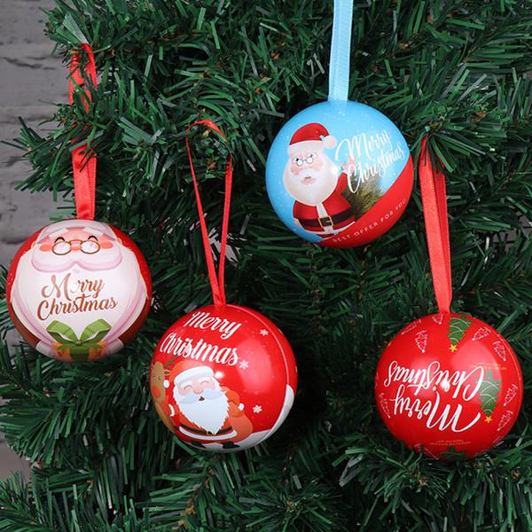 Noel Şeker Kutusu Parti Düğün Dekorasyon Noel Baba Boş Demir Top Şeker Kutusu Çocuk Oyuncak Şeker Durumda Noel Ağacı Kolye Top BH2358 ZX