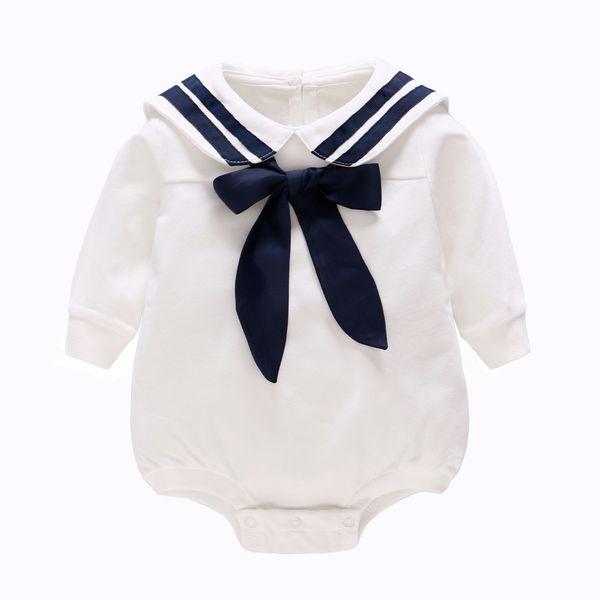Çocuk giyim 2019 Bahar Yeni Beyaz Donanma Rüzgar Bebek Tek Parça Pamuk Uzun Kollu Üçgen Romper bebek bebek tulum