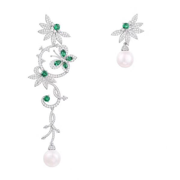 Hermosa Marca 925 Pendientes de Plata de ley Para Las Mujeres Mint perla asimétrica mariposa en forma de flor Pendientes de joyería de moda