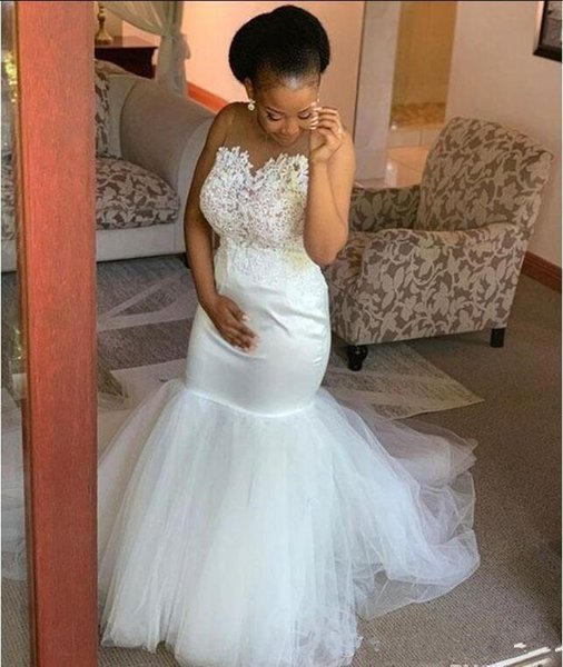 Graceful Mermaid Wedding Dresses White Sheer Neck Lace Appliques Pearls Country Wedding Gowns Tulle Bottom South Africa Bridal Dresses