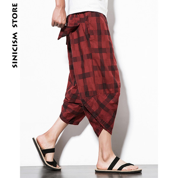 Sinicism Store Mens Cotton Linen Beach Pants Male Summer Casual Ankle-Length Pants Man 2018 Ethnic Style Plaid Loose Trousers Y19060601