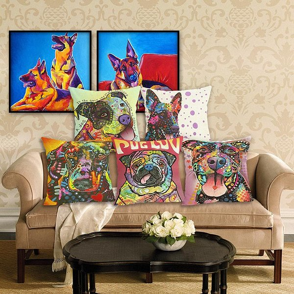 45cm oil painting dog Cotton Linen Fabric Throw Pillow 18inch Fashion Hotal Office Bedroom Decorate Sofa Chair Cushion