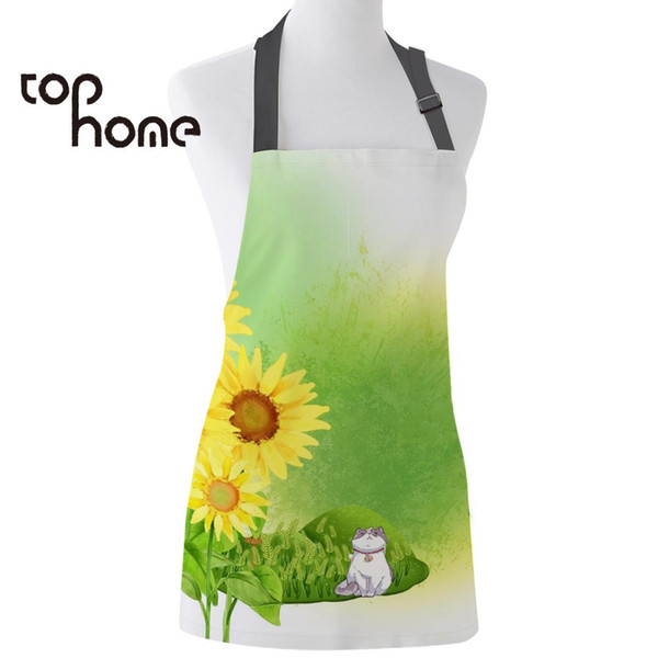 Tophome Kitchen Apron Japanese Anime Sunflower Printed Sleeveless Canvas Aprons for Men Women Kids Home Cleaning Tools