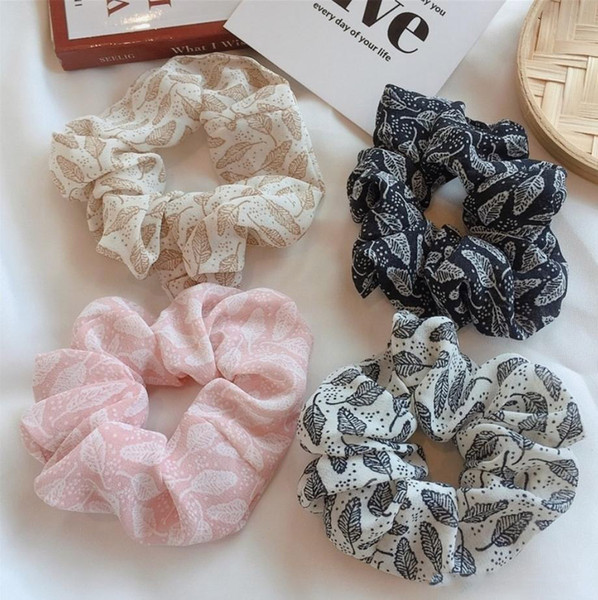 4 color Women Girls Leaf Chiffon Classic Cloth Elastic Ring Hair Ties Accessories Ponytail Holder Hairbands Rubber Band Scrunchies