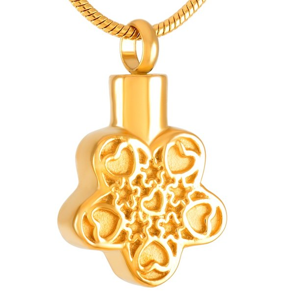 Stainless Steel Urn Necklace Five-pointed Star Retro Pattern with Commemorative Souvenir Pendant Necklace Cremation Jewelry IJD9365