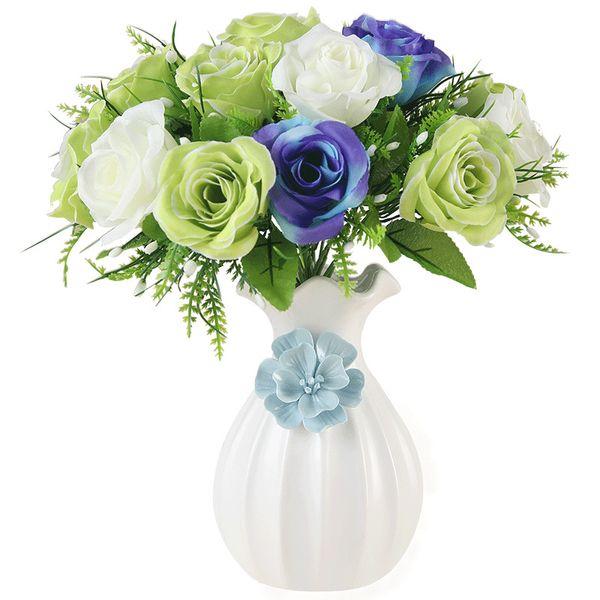 Rose Peony Knitting Flower White Ceramic Vase Home decor crafts Flowers Arrangement display table room decoration figurines