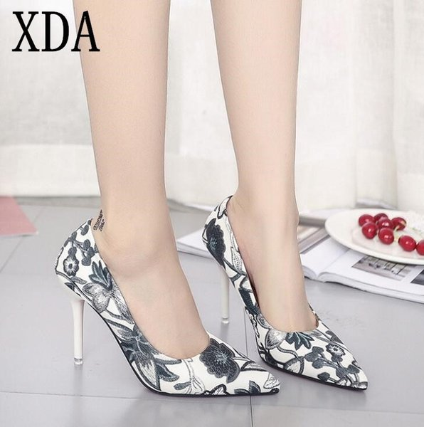 Xda Woman Slip On Shoes Fashion Leaves Printing Ladies Sexy Stiletto Female Floral Women Pointed Toe High Heels Party Shoes W472
