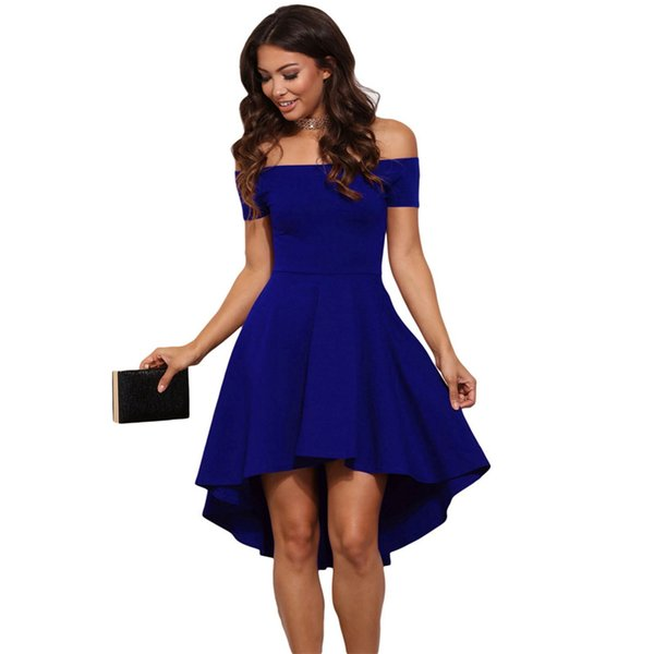 Summer New Dress Womens Solid Sexy Card Shoulder Slim A-line Hem Different Lengths Of Multi-color Fashion Party designer clothes