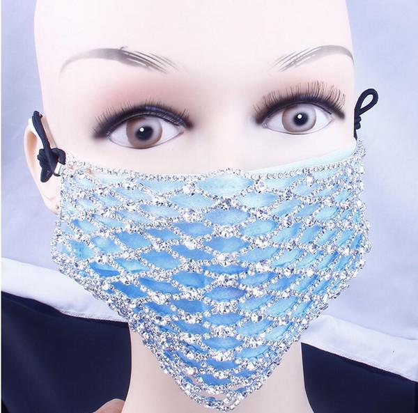 top popular Stonefans Unisex Fashion Rhinestone Mask Decorations Jewelry Face Elastic Mask Shiny Crystal Jewellery Party Dance Cosplay Decor 2020