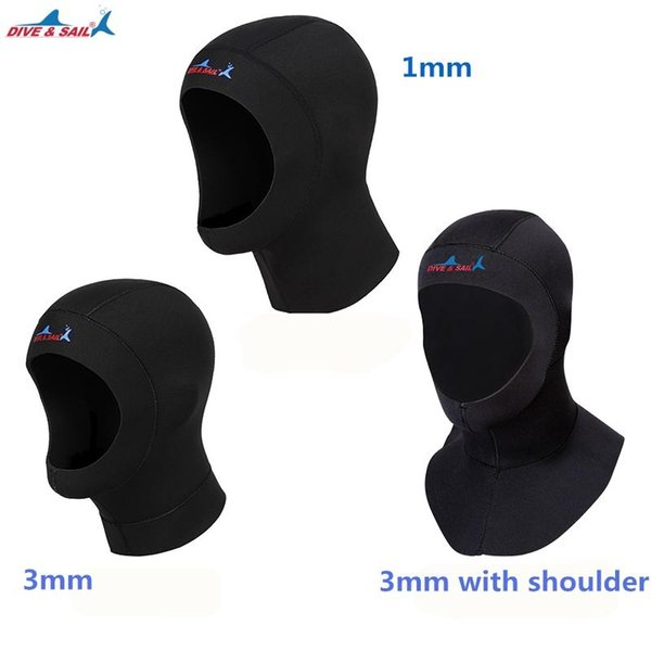 DIVE&SAIL 3mm neoprene diving cap snorkeling swimming hat hood neck cover winter swim keep warm scuba surfing face mask black