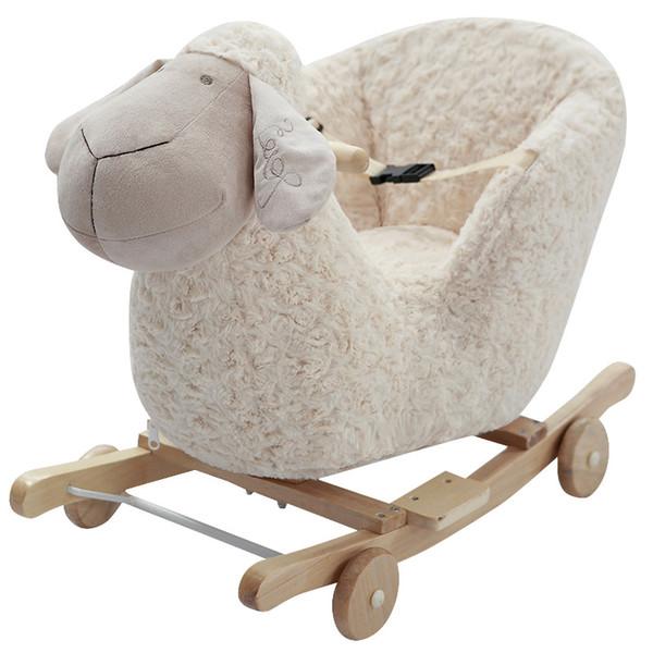 Bir yıl doğum günü hediyesi Parlaklık ve müzik ile Ahşap sallanan at Sevimli sallanan sandalye Bebek uyku aracı 12 ay çocuk oyuncakları