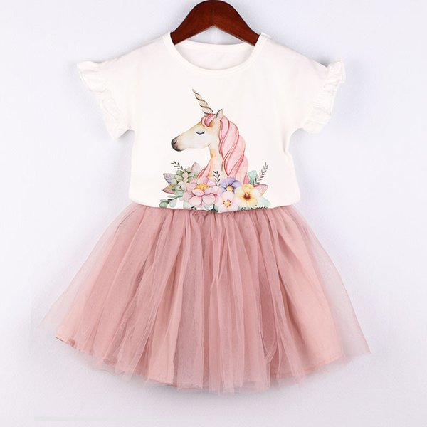 2019 2019 New Childrens Dress Girls Summer Clothes Magical Unicorn Print Vestidos Infantil 3 8 Years Kids Unicornio Party Wedding Wear From