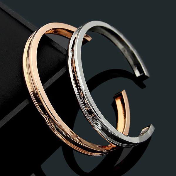 Marque acier de titane bijoux bulgarie pour les femmes hommes en gros B lettre ouverte dame Bracelet rainuré lisse bracelet manchette ouverte