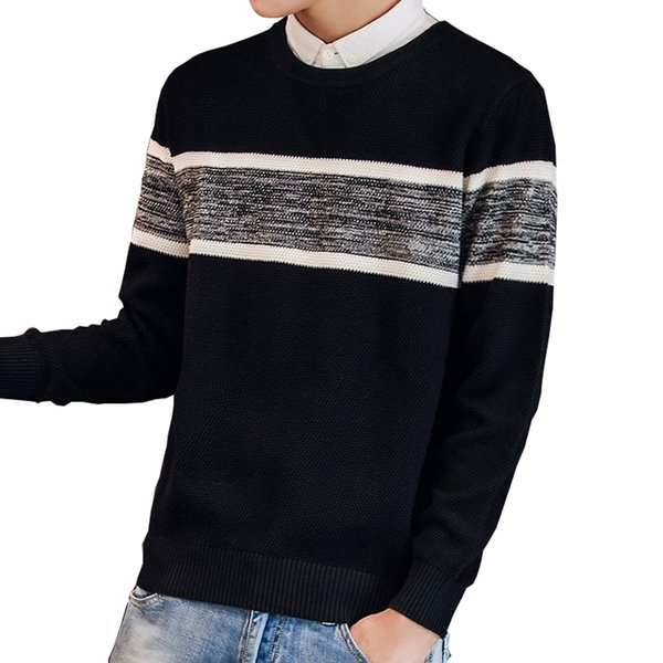 Autumn Casual Men's Sweater Slim Pitchwork Plus Size Men's Knitted Pullover Sweater 2019 New Cotton O-Neck Black Men 3XL
